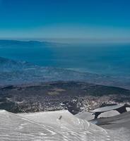 Skifahren auf dem Vulkan Ätna foto