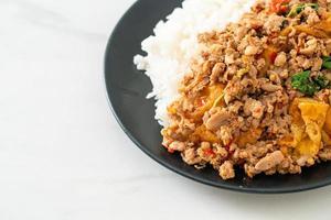 gebratenes Schweinehackfleisch mit Basilikum und Ei auf Reis - asiatische Küche foto