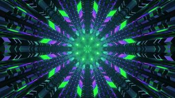 Neonlichter im Science-Fiction-Tunnel 4k UHD 3D-Darstellung foto
