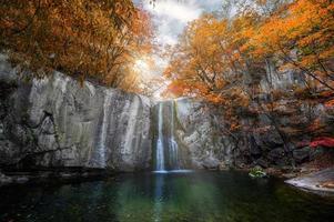 Wasserfall fließt im herbstlichen Wald im Nationalpark foto
