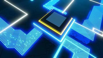 3D-Rendering CPU-Datenfluss-Platine elektronisch foto