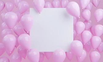 3D-Rendering rosa Ballons Hintergrund mit weißem leerem Quadrat foto