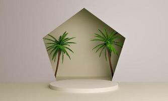 3D-Rendering minimalistisches Podium mit Palmen für die Produktplatzierung foto