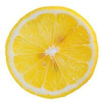 Zitronenscheibe isoliert auf weiss. gesundes Essen foto