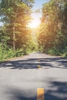 Landstraße mit Bäumen daneben im ländlichen Raum. Natur und Grün. foto