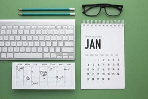 Zeitorganisationskonzept mit Planeransicht foto