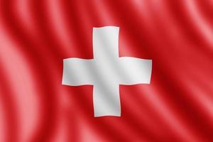 schweizer flagge, realistische abbildung foto