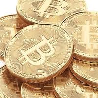3D-Render-Bitcoin-Konzept. neues virtuelles Geld. Kryptowährung foto