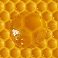 3D-Rendering Honigtropfen und Wabenhintergrund. foto