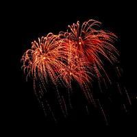 schönes Feuerwerk auf schwarzem Hintergrund. foto