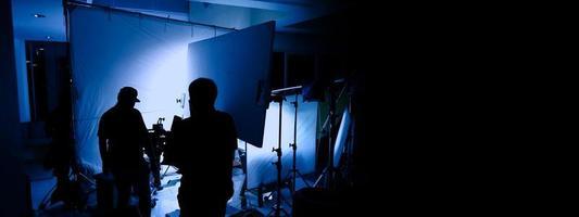Videoproduktion hinter den Kulissen. Making-of-TV-Werbefilm foto