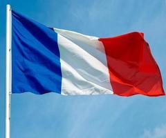 französische flagge von frankreich über blauem himmel foto