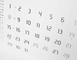 Kalenderseite mit selektivem Fokus foto