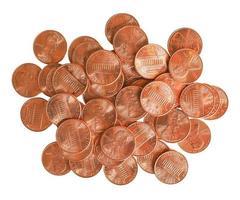 Dollarmünzen 1 Cent über Weiß isoliert foto