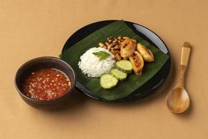 traditionelles Nasi-Lemak-Essen foto
