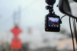 Auto Sicherheitskonzept. Autokamera aufnehmen foto