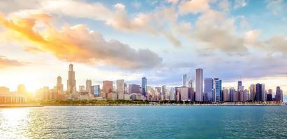 Skyline der Innenstadt von Chicago in den USA foto