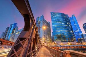 Chicago Innenstadt und Chicago River foto