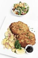 deutsches paniertes Bio-Schweineschnitzel mit Speck Bratkartoffeln Preiselbeersauce und Salat auf weißem Studiohintergrund foto