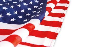 USA-Flagge auf weißem Hintergrund foto