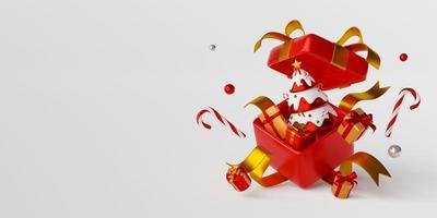 Weihnachtsbaum mit Geschenk in großer Geschenkbox, 3D-Darstellung foto