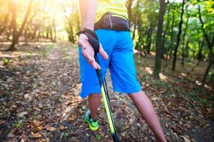 Detail des Nordic-Walking-Sticks mit Handhaken foto