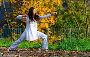 Positionen der Arme und Hände des im Park praktizierten Yogas foto