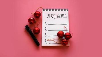 Zielliste für das Konzept 2021. Ansicht von oben, flach legen, Platz kopieren foto