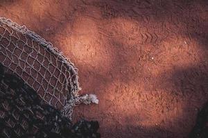 Oberflächenbeschaffenheit des Tennisplatzes. Tennissport Hintergrund foto
