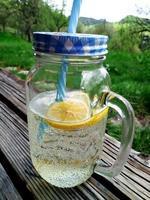 erfrischende hausgemachte Limonade im Garten foto