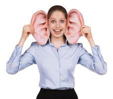 junge Frau mit großen lustigen Ohren foto