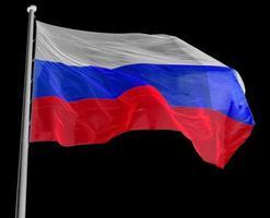 russische flagge von russland über schwarz foto