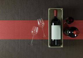Weinflaschen mit Weingläsern auf dem Boden foto