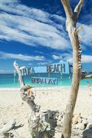 Puka Beach Schild am tropischen Paradies Boracay Island Philippinen foto