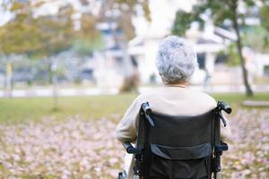 asiatische ältere Patientin im Rollstuhl im Park foto