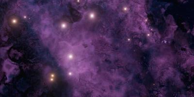 lila und dunkler Nebel mit hellen Sternen foto