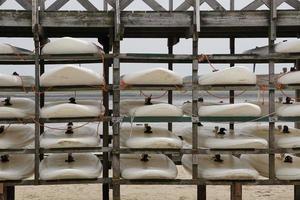 Surfbretter im Nordseehafen, Norderney foto