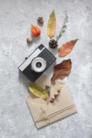 Draufsicht Herbstkomposition foto