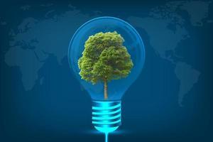 leuchtende Glühbirne in Idee auf blauem Himmelskartenhintergrund foto