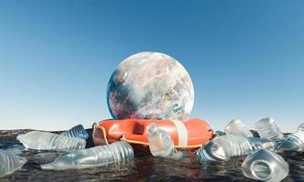 Planet mit Rettungsring im Ozean, umgeben von Plastikflaschen foto