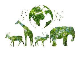 World Wildlife Day Waldsilhouetten in Form eines wilden Tieres foto