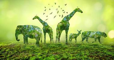 Waldsilhouette in Form eines wilden Tieres foto