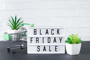 schwarzer Freitag. Mini-Einkaufswagen und Sukkulente. Online-Verkauf foto
