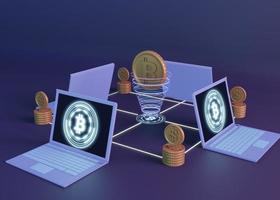 3D-Kryptowährung, die modernes Design rendert foto