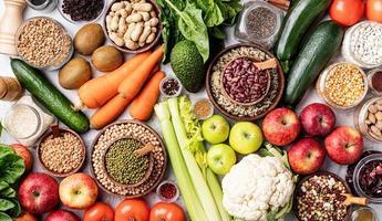 Draufsicht des gesunden Lebensmittelhintergrundes foto