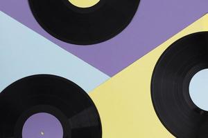 Flat-Lay-Vinyl-Schallplatten-Komposition foto