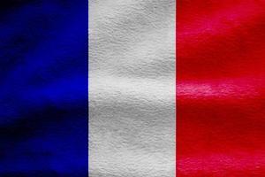 Frankreich Flagge Stoff Welle Textur Hintergrund, 3D-Darstellung. foto