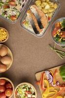 Draufsicht Ernährung Essen Essensplanung foto