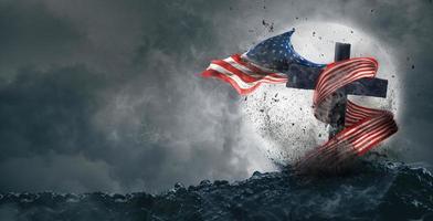Amerikanische Flagge flattert auf dem Grab foto