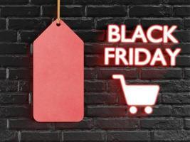 rotes Etikett mit Text schwarzer Freitag mit 3D-Stil foto